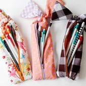 gingham style // knotted zipper pencil pouch tutorial - see kate sew