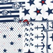 Tissu coton Pirate theme - Dots and Stars x 31,5cm