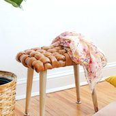 DIY Woven Leather Stool | Sugar & Cloth