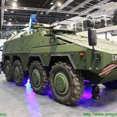 Rheinmetall HEL High-Energy Laser weapon station mounted on Boxer 8x8 armoured vehicle 0405154 | weapons defence industry military technology UK | analyse focus army defence military industry army