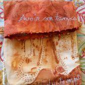 tissu teint à la rouille et piqué libre :un pochon
