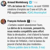 Hollande contredit officiellement Montebourg sur l'euro