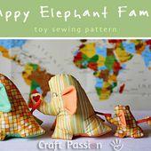 Une famille d'éléphants comme doudous