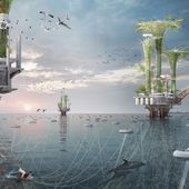 the noah oasis transforms existing oil rigs into vertical bio-habitats