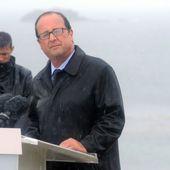 François Hollande sous le déluge à l'île de Sein