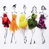 Rafraichissantes Illustrations de Mode faites de Fruits et Légumes
