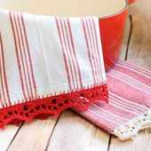Crochet Edged Tea Towel Pattern - Petals to Picots