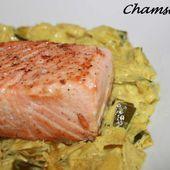 Pavé de saumon sur son lit de poireaux au curry, Recette Ptitchef