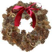 Couronne de Noël en pommes de pin et autres décorations naturelles
