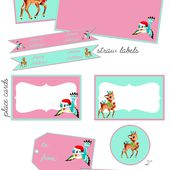 Pink & Aqua Christmas Party Printable Freebies!