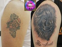recouvrement ancien tatouage avec un lion
