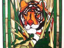 Modèle pour vitrail - Tigre