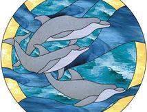 Modèle pour vitrail - Trois dauphins
