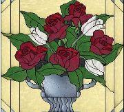 Modèle pour vitrail - Fleurs en vase