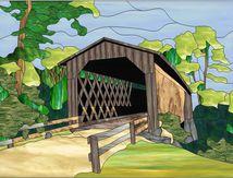 Modèle pour vitrail - Pont couvert