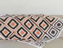Petit plaid au crochet beige marron Années 70 - Vintage C18