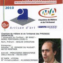 Carte professionnelle d'artisan d'art 2010 en menuiserie ébénisterie