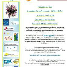 Le programme complet des JEMA à Saint Cyprien - 5,6 et 7 avril 2013