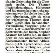 """Harke am 23.07.2010 """"Zentralrat beschwert sich bei Althusmann - 'Schule vernachlässigt den Holcaust'"""""""