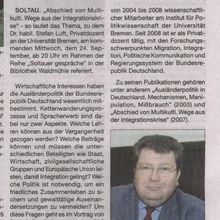 "Soltau: Thema ""Multikulti"" Dr. Stefan Luft referiert in der Waldmühle am 24.09.08 - 20:00"