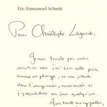 Dédicace Eric-Emmanuel Schmitt pour le Visiteur 2001