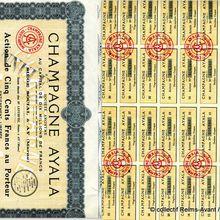 Action de 500 Francs au porteur des maisons de Champagne Ayala d'Ay.