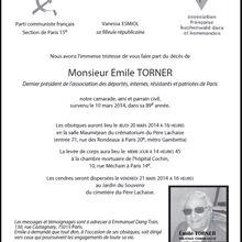 Obsèques d'Emile TORNER - JEUDI 20 MARS - 16h00 - PERE LACHAISE