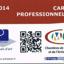 Ma carte professionnelle d'artisan d'art 2014
