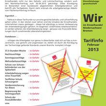 ver.di-Tarifinfo Handel Februar 2013 -- Handelsunternehmer kündigen Tarifverträge