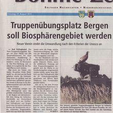 Böhme-Zeitung 27.8.13 -- neue Initiative Biosphärengebiet statt Truppenübungsplatz gegründet