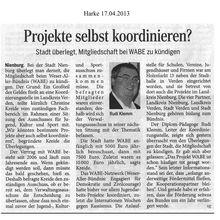 Harke 17.4.13 -- Kündigt Stadt Nienburg WABE?
