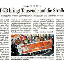 """Harke 9.9.13 -- DGB-Demos """"Gute Arbeit, Sichere Rente, Soziales Europa, aktiver Staat"""""""