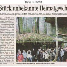 Harke 16.12.14 -- Schule besucht Zwangsarbeitsstätte EIBIA Liebenau
