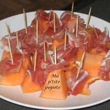 Cubes de melon et sa chiffonnade de jambon cru