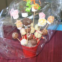 bouquet à croquer : cakes pops et chamallows