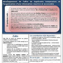 La gestion des situations d'urgence : le nécessaire développement de l'offre de logements temporaires et l'organisation d'une information réactive et accessible