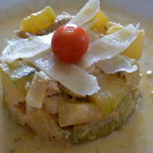 Poulet courgettes fromage et curry
