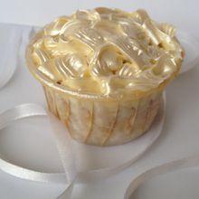Cupcake coeur fondant à la poire et glaçage vanillé