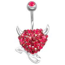 Piercing de nombril Crystal Evolution Devil Heart rouge