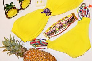 Yellow …💛🍍💛🍍 A perfect color for a perfect summer style #soon !!! @amenapih @hipanemabracelet  #amenapih #hipanema #yellow #summercolor  #colour #summer #bikini #pineapple #details