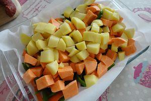 Légumes rôtis aux olives et au chorizo