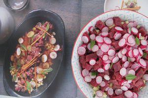 Boeuf cru aux céréales et aux radis