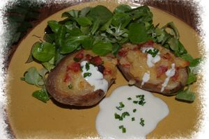 Pommes de terre farcie cantal - pancetta