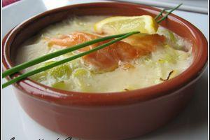 Cassolette de saumon sur lit de poireau