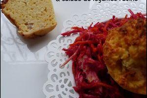 Petits cakes de pomme de terre Mousline et salade de légumes racines