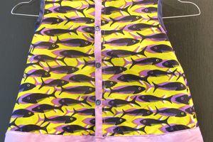 robe poisson jaune mauve et bleu marine