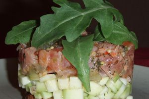 Double Tartare courgetto citroné de saumon