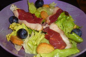 Salade d'aiguillettes de magret de canard fumé