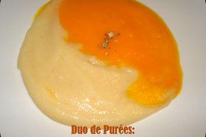 Duo de Purées: Potiron Vin Blanc et Choux fleur à l'Ail