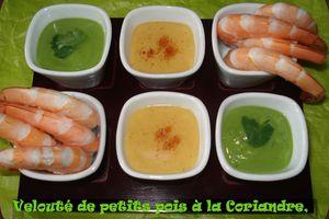 Velouté Petits Pois-Coriandre,Crevettes et Sauce au Cognac